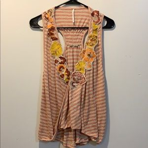 Free people Orange and tan flower tank top nwot